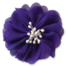 7cm Cherry Blossom DARK PURPLE Fabric Flower Applique